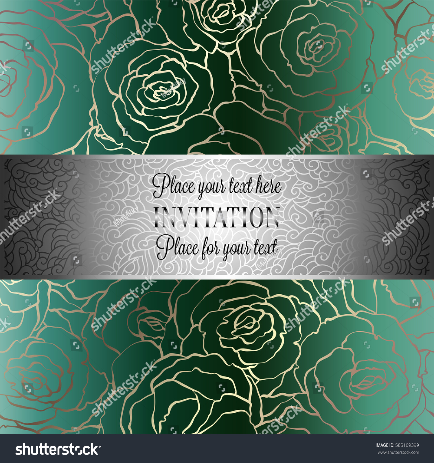 Abstract Background Roses Luxury Royal Emerald Stock Vector 585109399