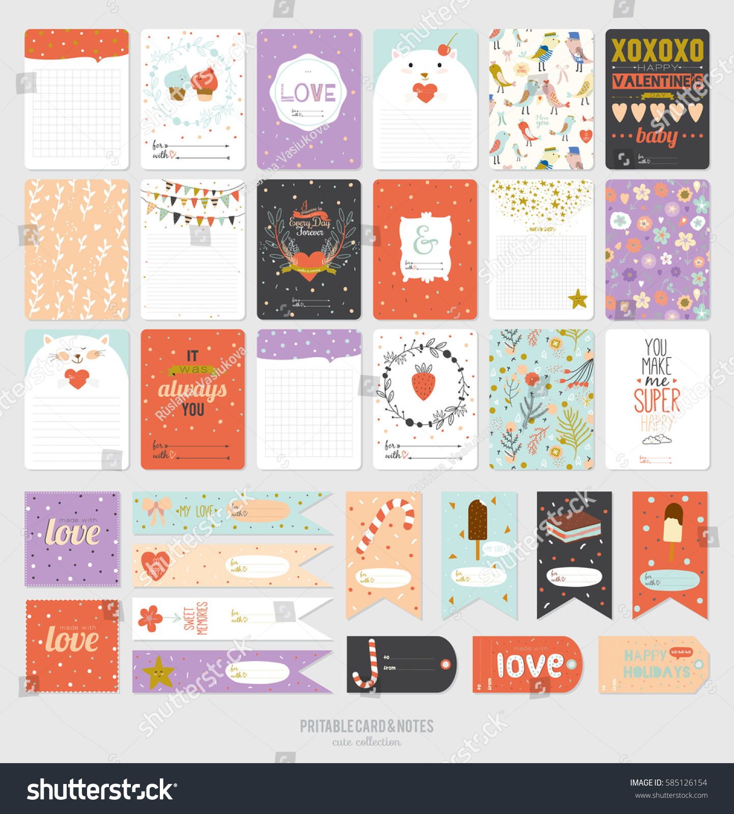 Cute Cards Notes Stickers Love Illustrations Stock Vector 585126154