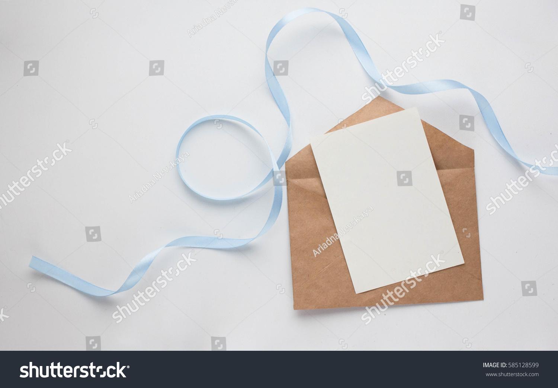 Workspace Wedding Invitation Cards Envelopes Grey Stock Photo (Edit ...