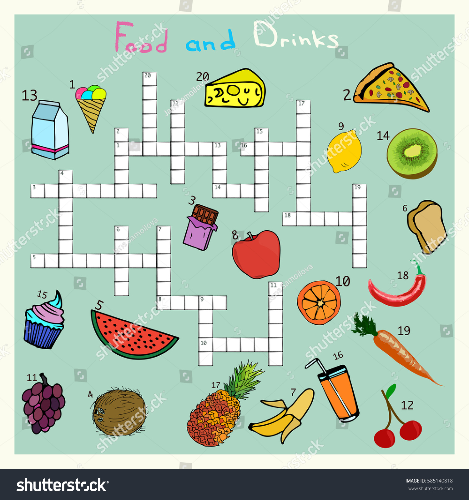 Big Food Drink Crossword Words Game Stock Vector (Royalty Free ...