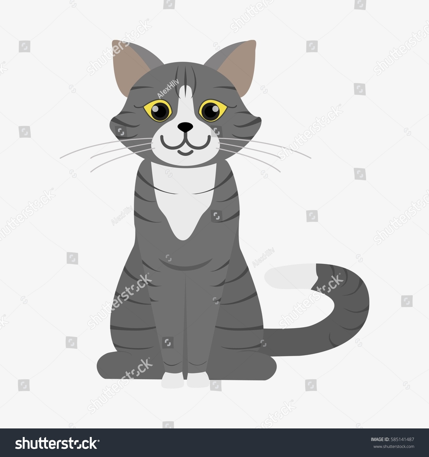 Grey Cat Stripes Yellow Eyes Cartoon Stock Vector Royalty Free 585141487