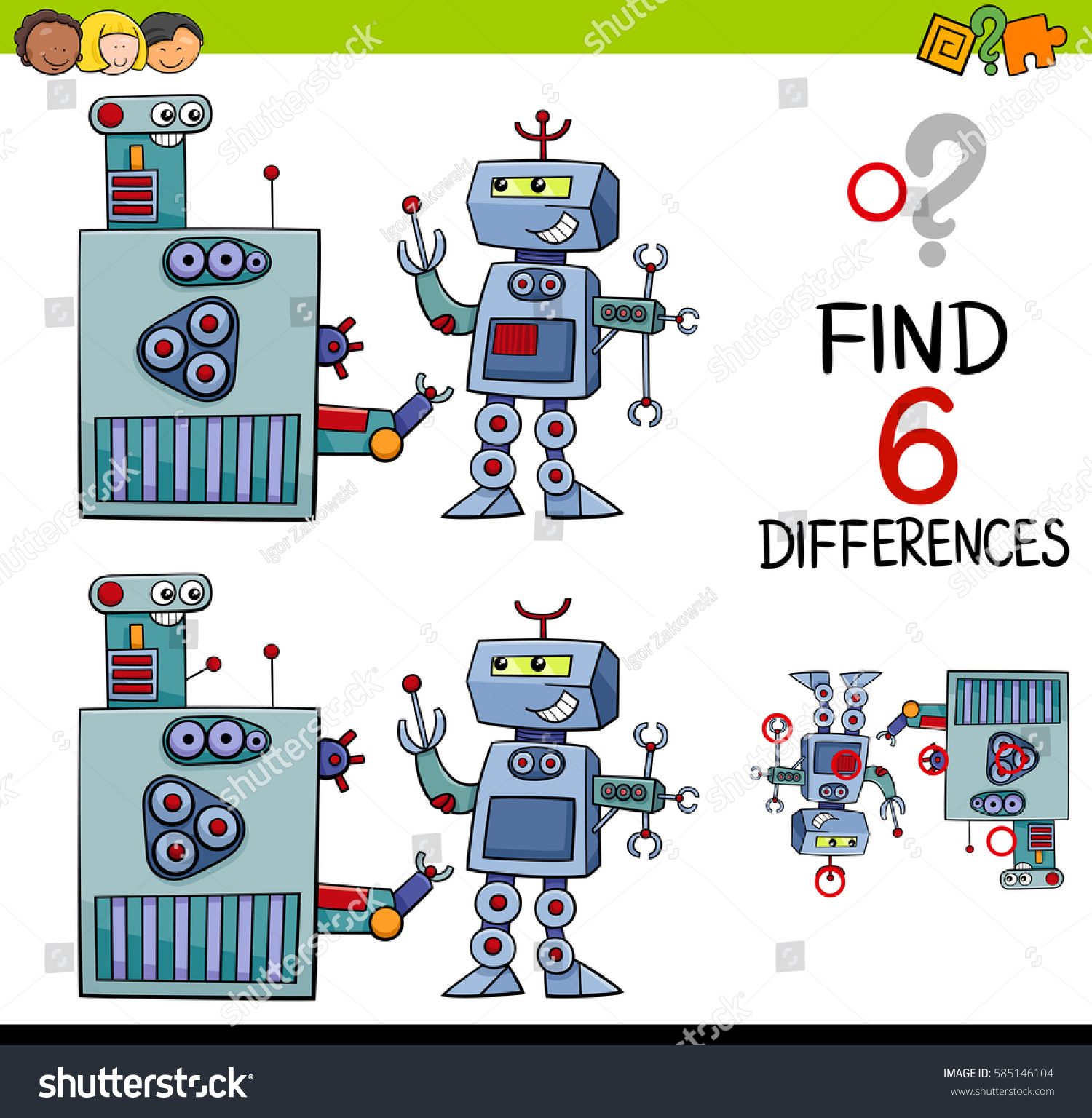Cartoon Illustration Finding Difference Educational Game Stock