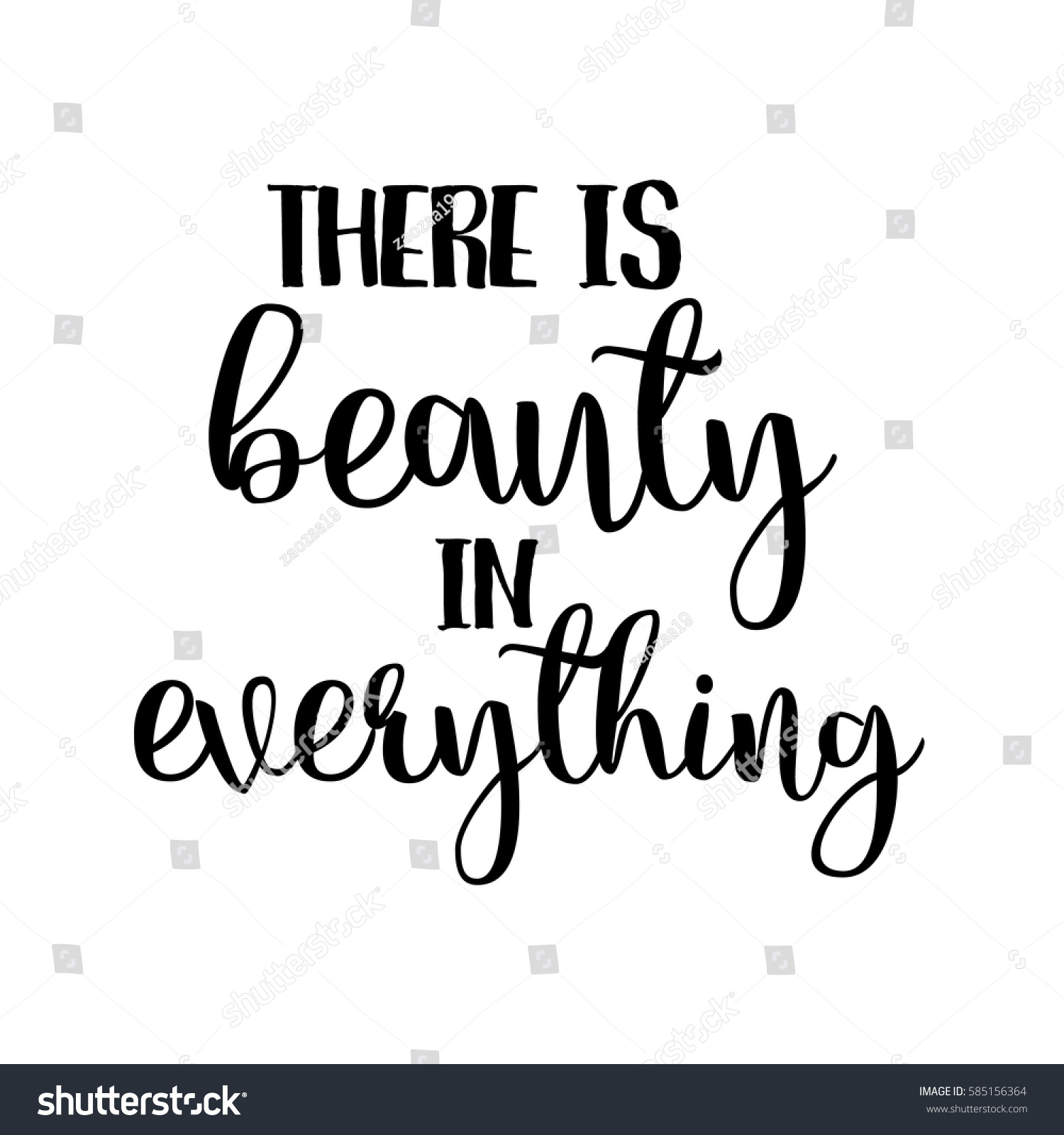 There Beauty Everything Inspiration Quotes Lettering Stock Vector