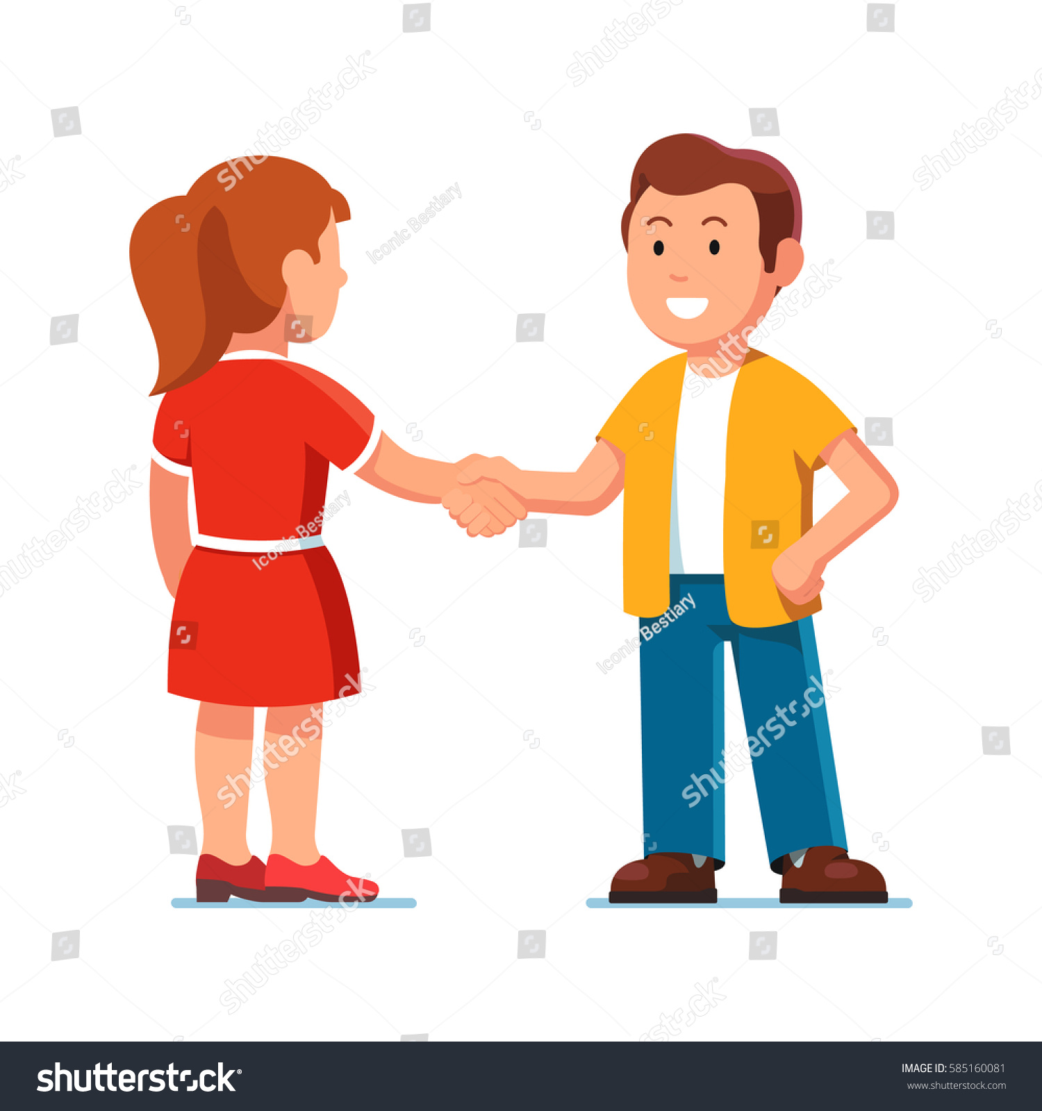 Two Male Kids Shaking Hands Picture