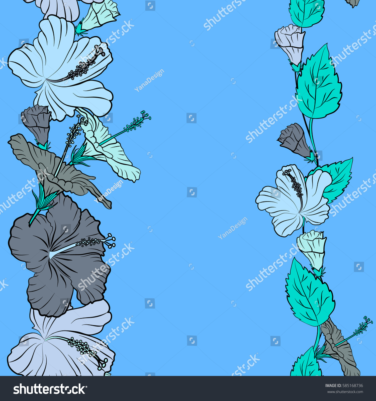 Seamless Exotic Pattern Blue Tropical Flowers Stock Vector Royalty