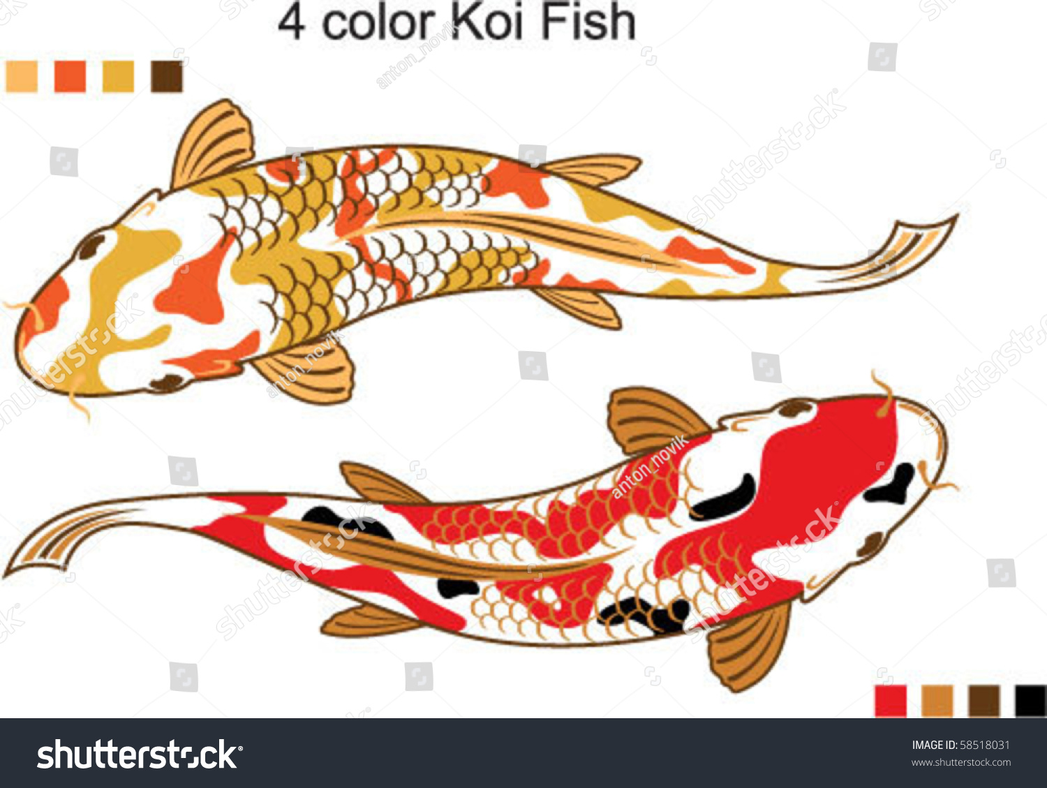 4 color koi fish vector stock vector 58518031 shutterstock for Koi fish vector