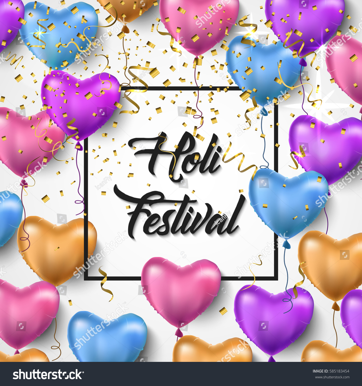 Holi festival vector illustration holi festival stock vector holi festival vector illustration holi festival greeting card design with colorful balloons and golden kristyandbryce Image collections