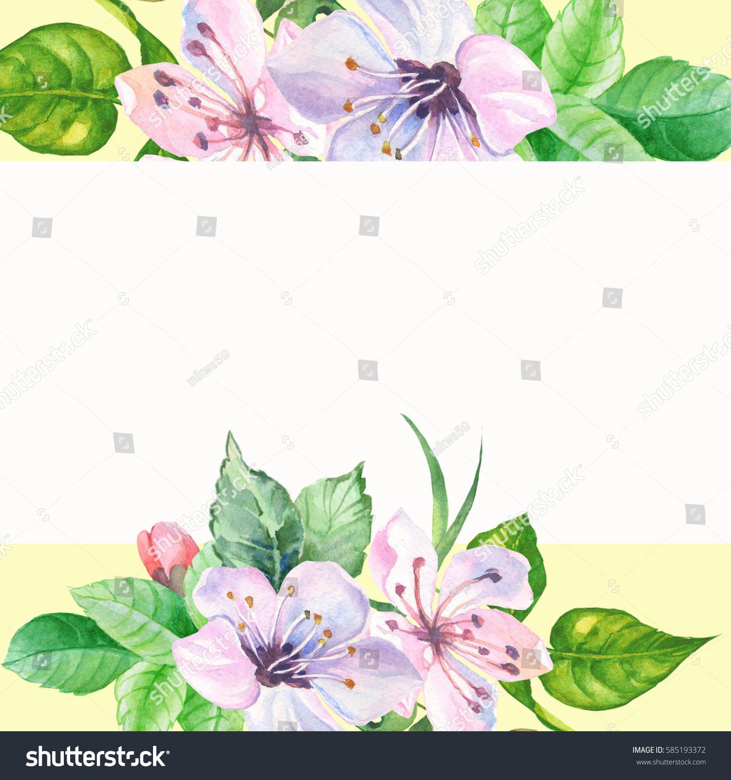 Watercolorspring flowers border ez canvas id 585193372 mightylinksfo