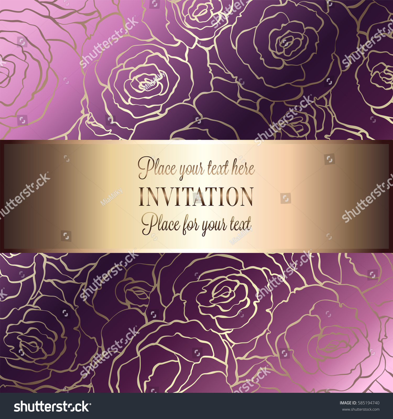 Abstract Background Roses Luxury Pink Gold Stock Vector Royalty