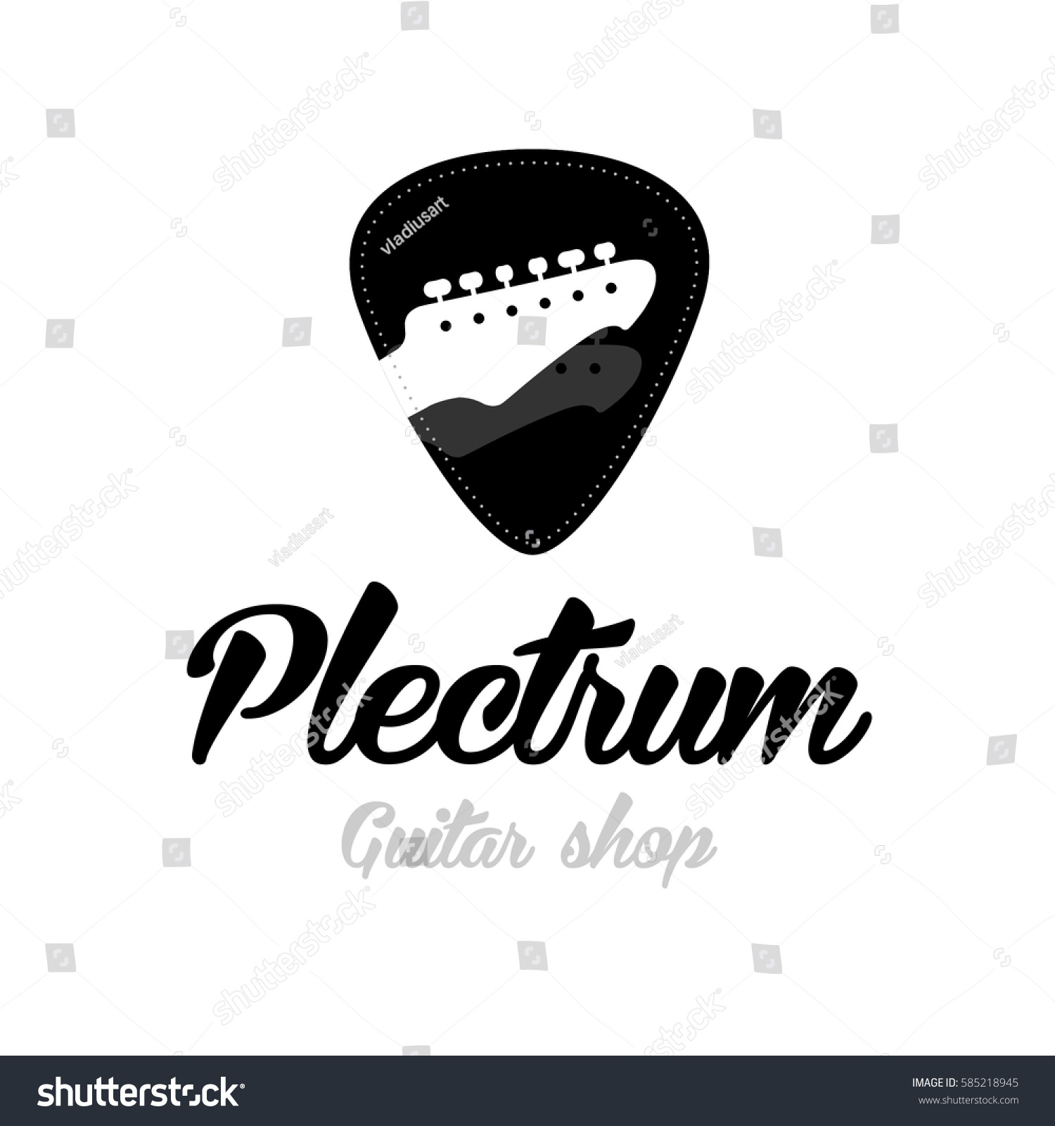 Guitar Store Logo Headstock Isolated Plectrum Shape