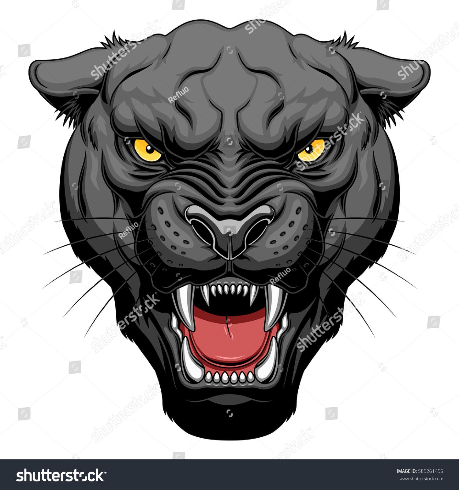 Black Jaguar Growl: Growling Panther Face Stock Vector 585261455