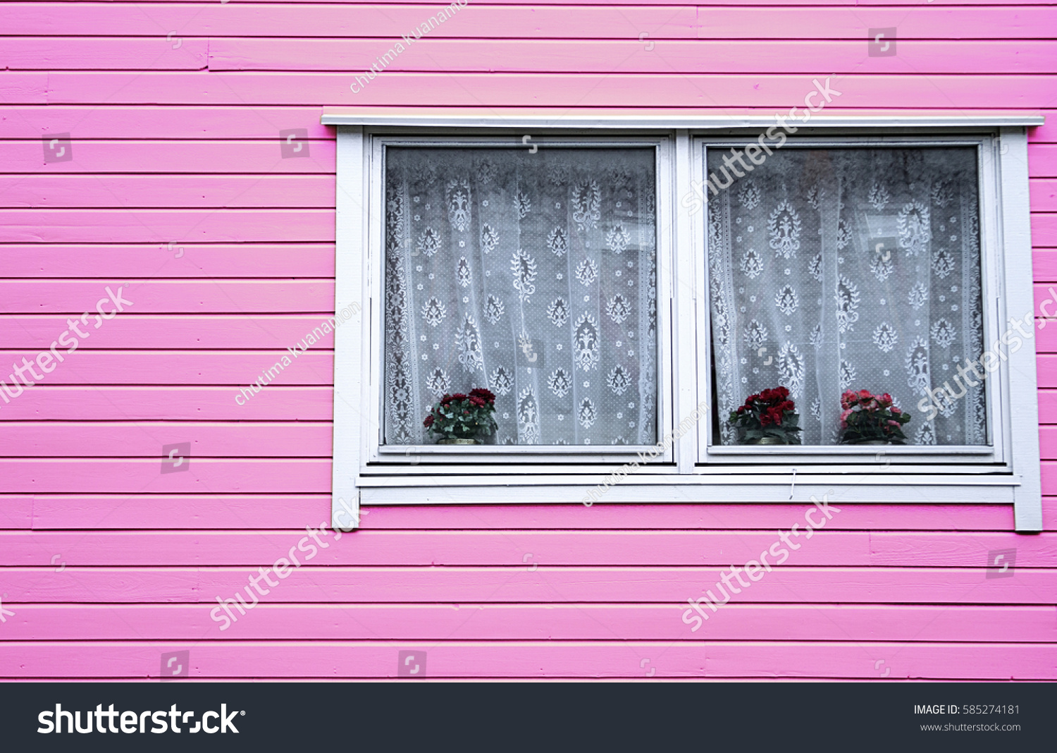 House Wood Architecture Vase Roses Pink Stock Photo (Edit Now ...