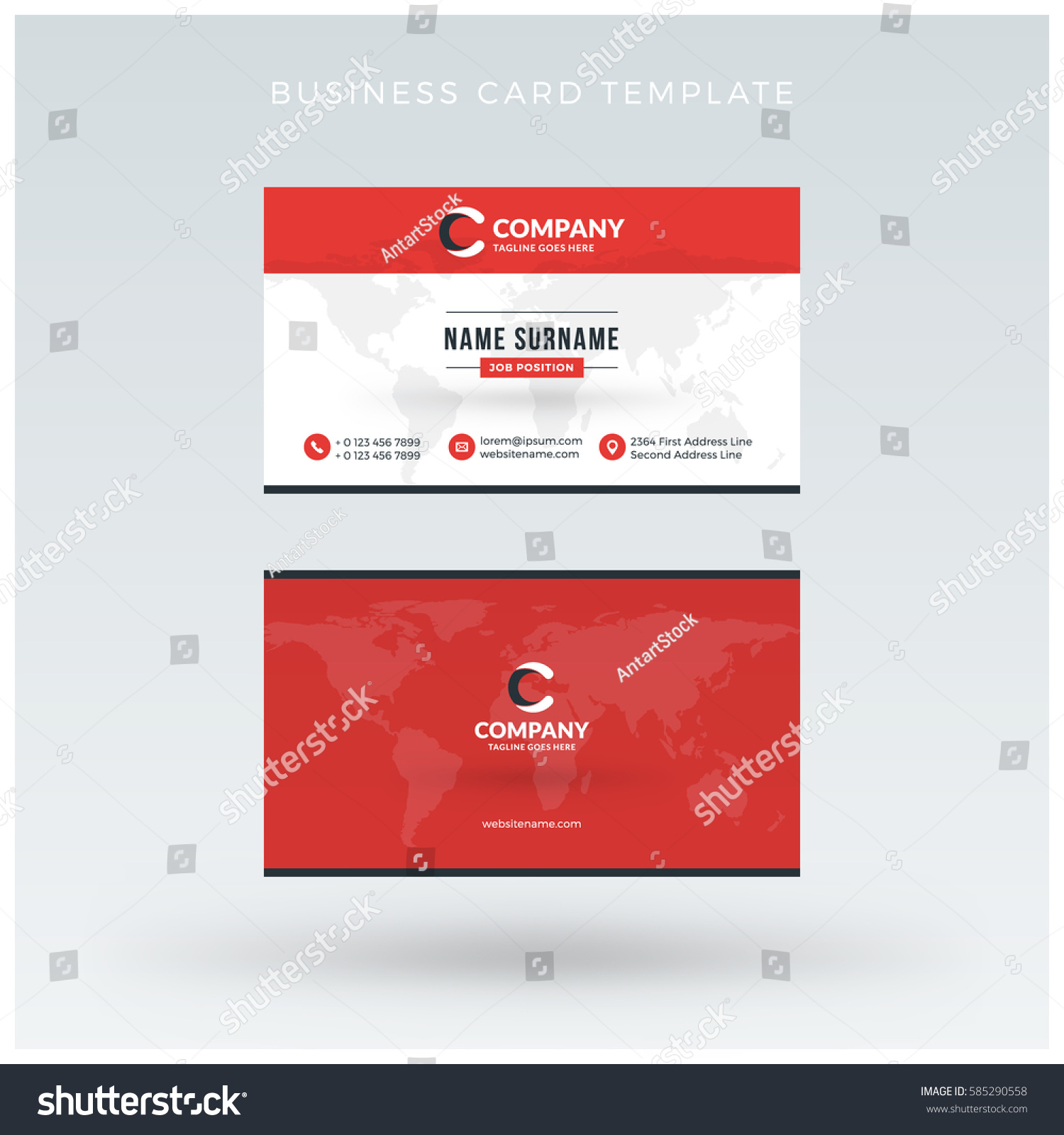 doublesided red business card template vector stock vector 585290558 shutterstock. Black Bedroom Furniture Sets. Home Design Ideas