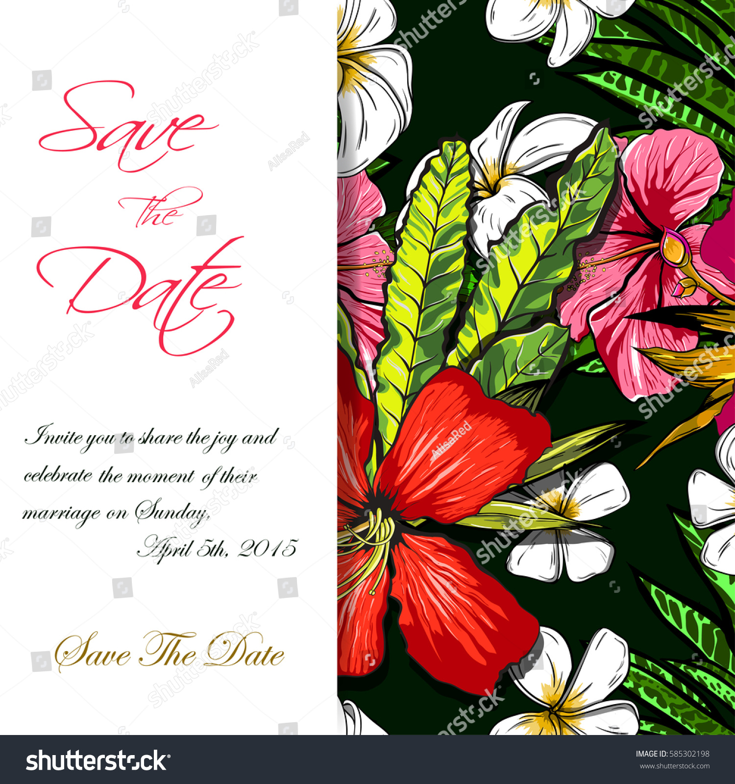 Wedding Invitation Card Design Exotic Tropical Stock Vector (Royalty ...