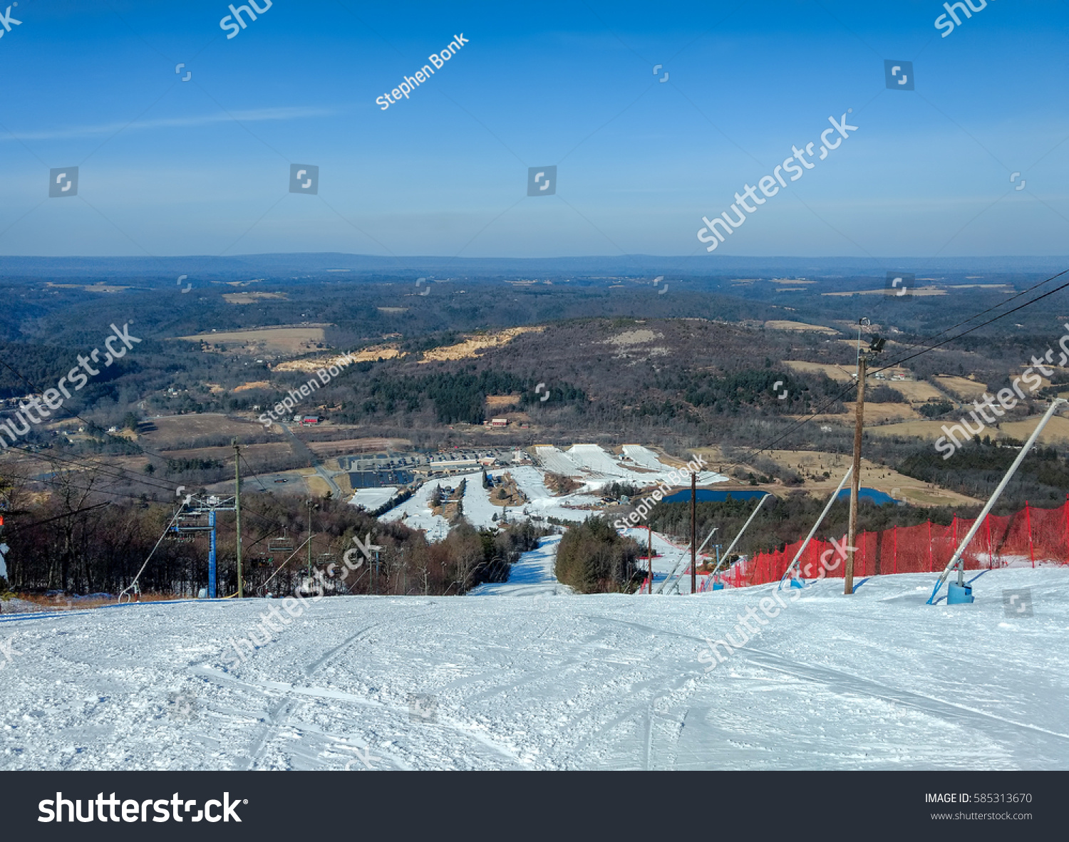 blue mountain ski slopes pocono mountains stock photo (edit now