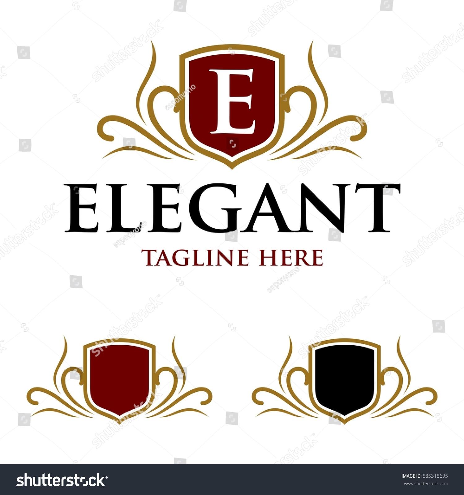 elegant shield crest logo template stock vector 585315695 shutterstock