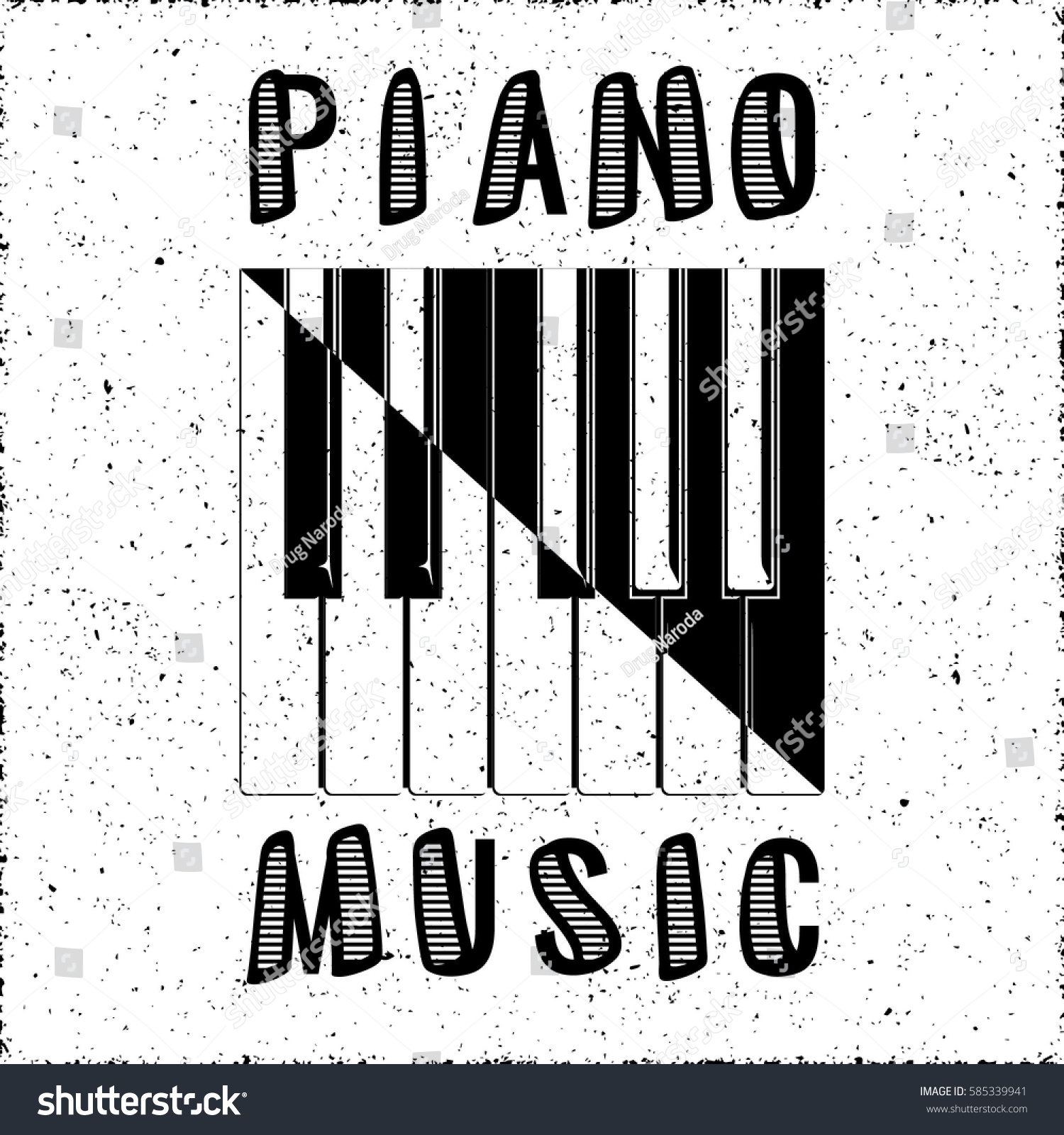 Piano Music Calligraphy Illusion Logo Lettering With Keys Yin Yang Style Composition And Grunge Effect
