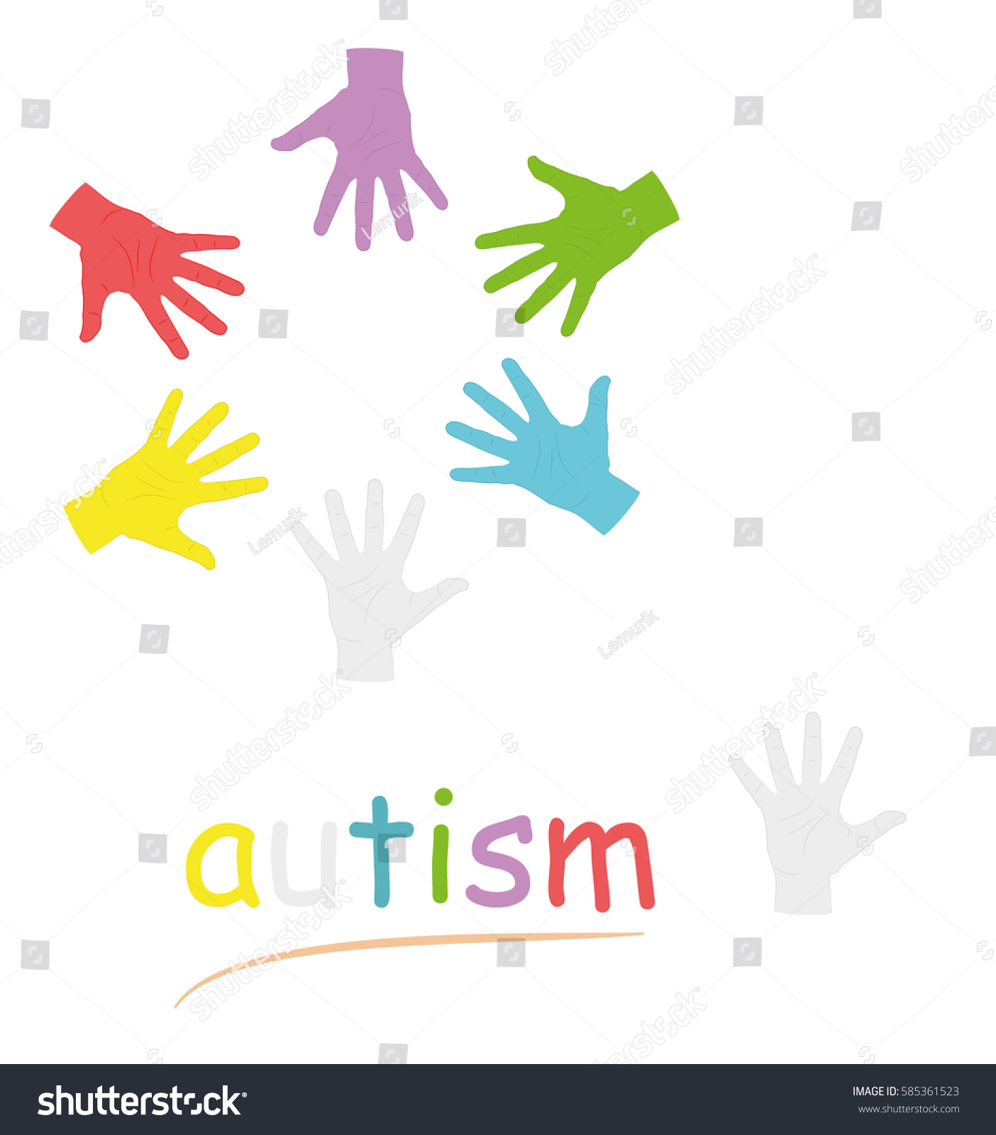 Hands different colors circle symbol autism stock vector 585361523 hands of different colors in a circle symbol of autism vector illustration biocorpaavc