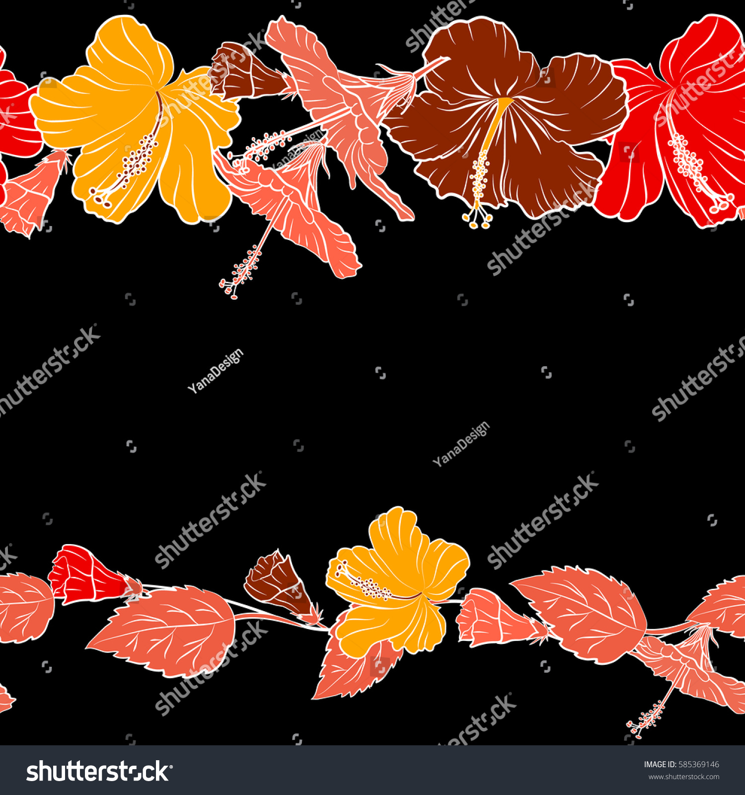 Pattern On Black Background Red Yellow Stock Vector