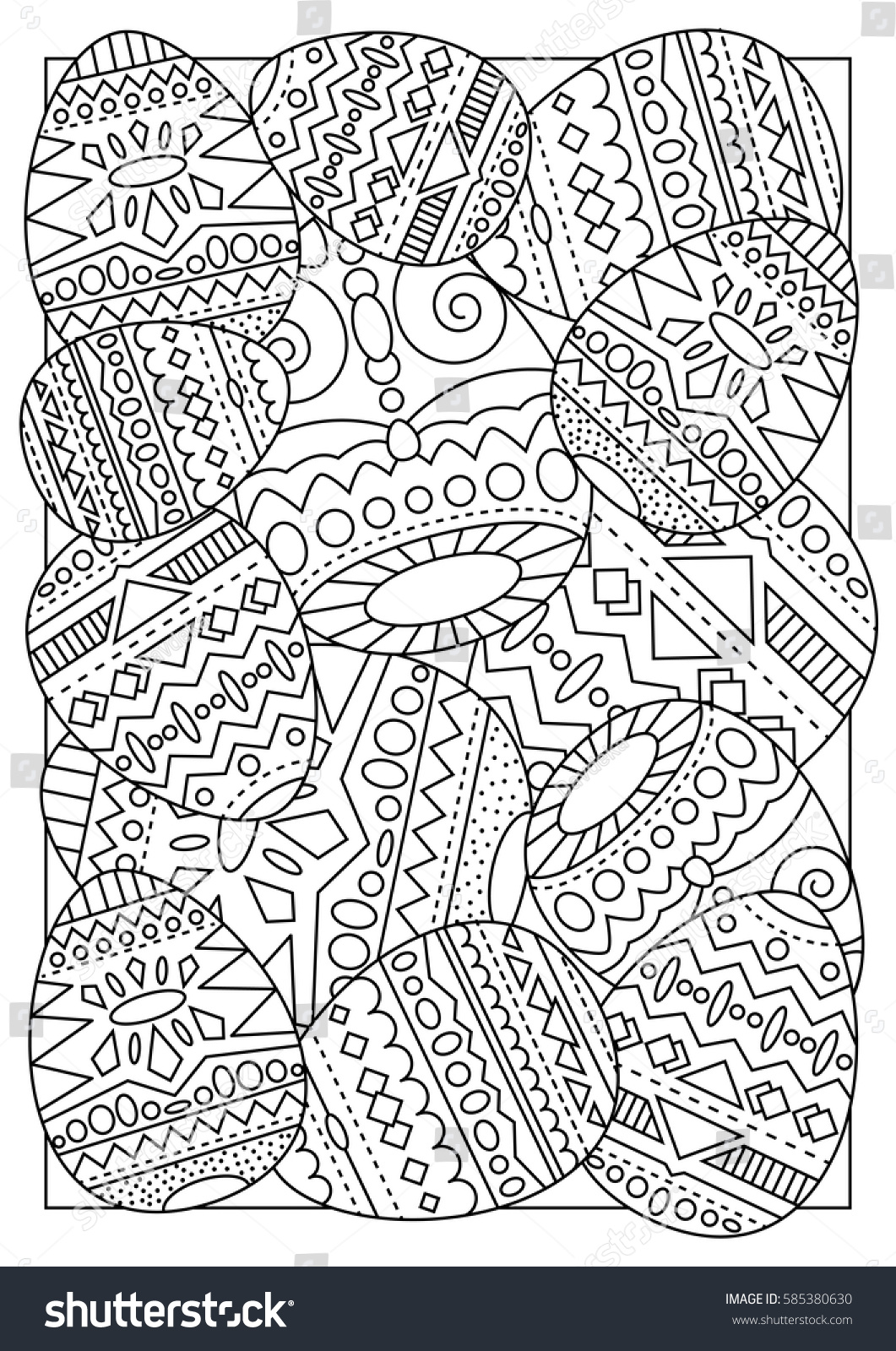 Easter Eggs With Tribal Ornament Vector Coloring Page For Adults Handmade Postcard Chicken