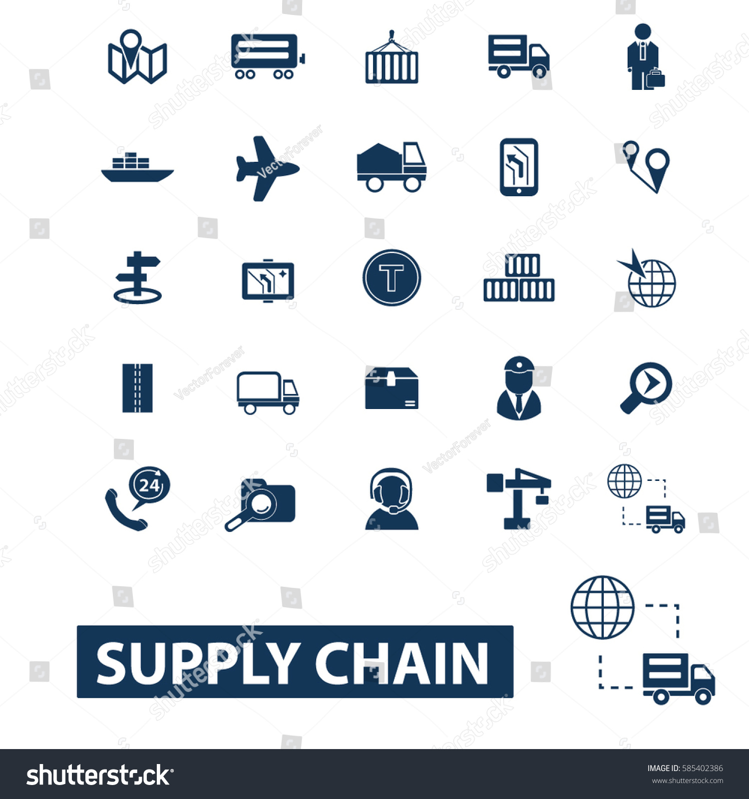 Supply Chain Icons Stock Vector Royalty Free 585402386 Shutterstock