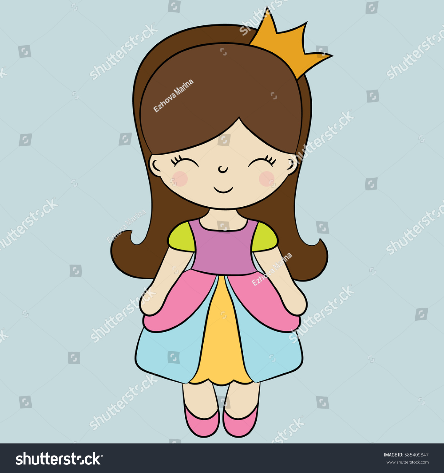 Childrens Illustration Princess Best Choice Cards Stock Vector ...