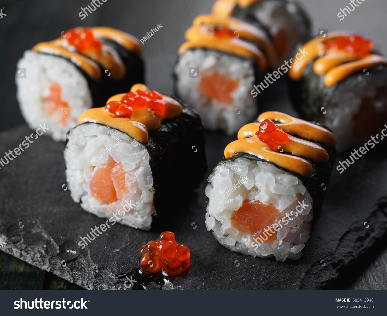 Sushi rolls salmon fish roe on stock photo 585413948 for Fish for sushi