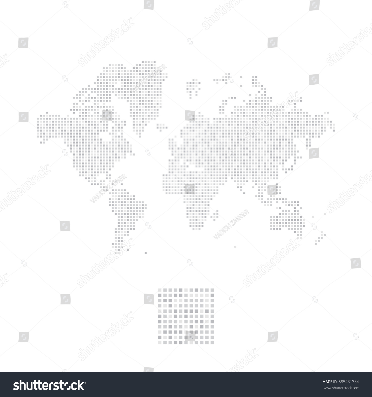 Abstract world map square dots flat stock vector 585431384 abstract world map in a square dots flat vector illustration eps 10 gumiabroncs Images