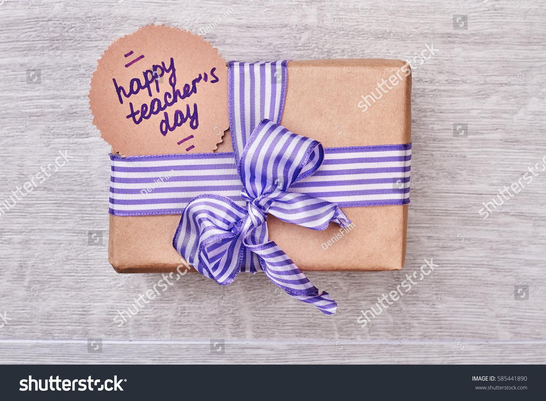 Present Box Teachers Day Striped Bow Stock Photo Edit Now