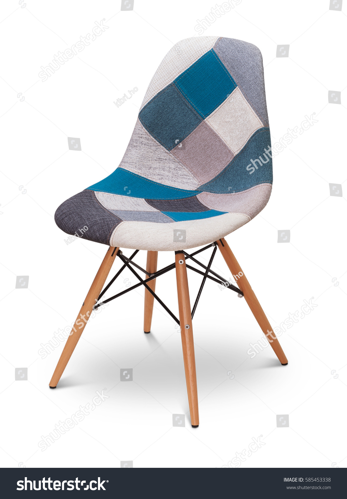 Patchwork Armchair, Chair, Modern Designer. Armchair Isolated On White  Background. Series Of