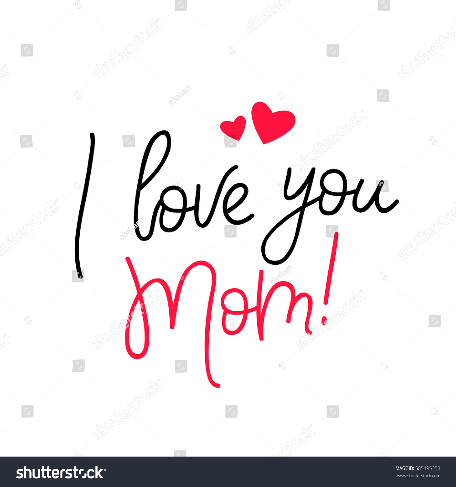 Love you mom calligraphy vector illustration stock vector - Image i love you maman ...