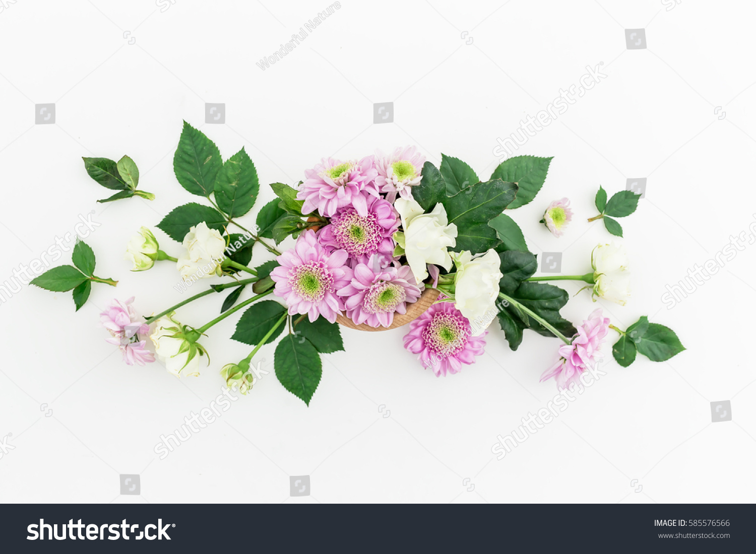Floral Pattern Pink Flowers White Roses Stock Photo Edit Now
