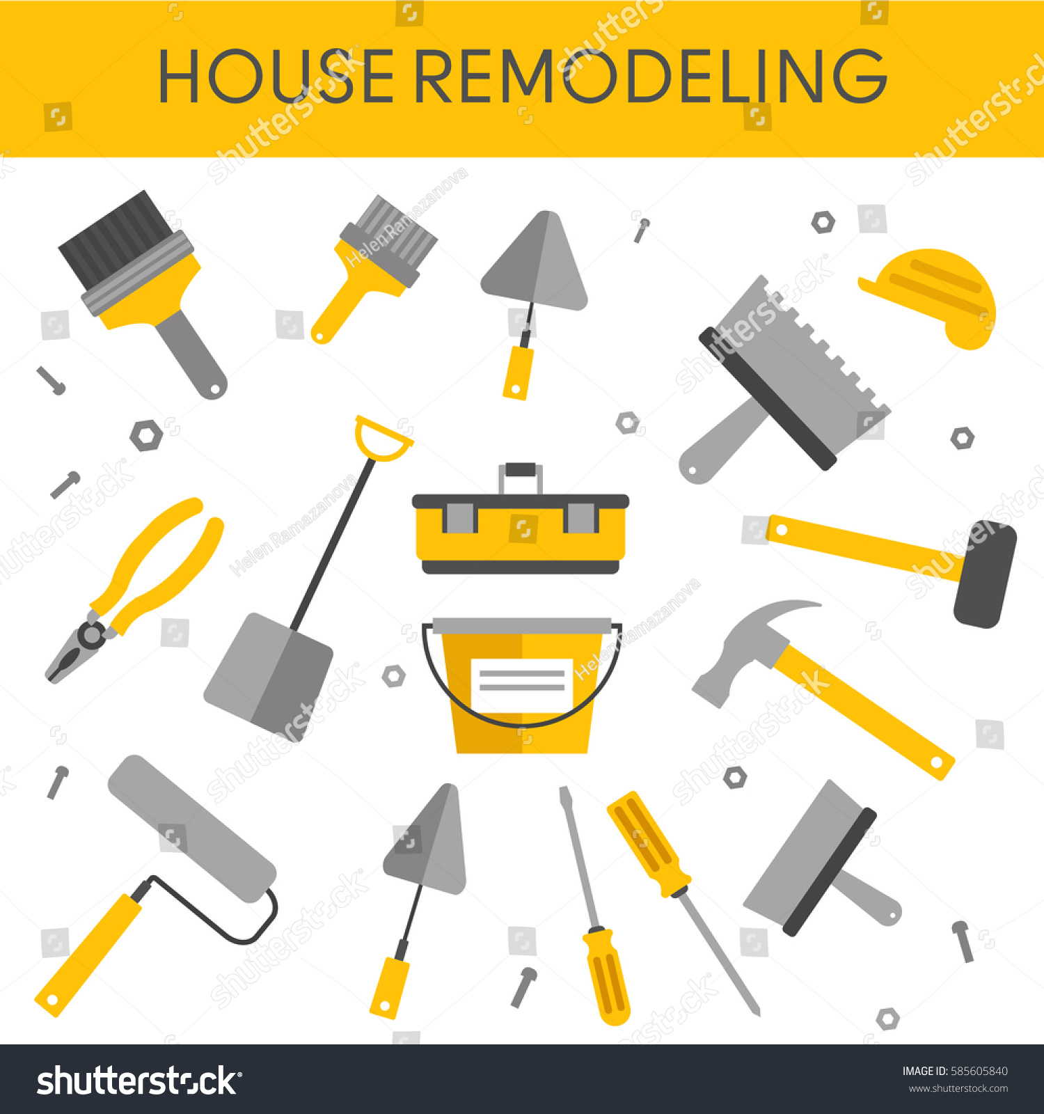 House remodel banner hand tools home stock vector for House remodeling tools