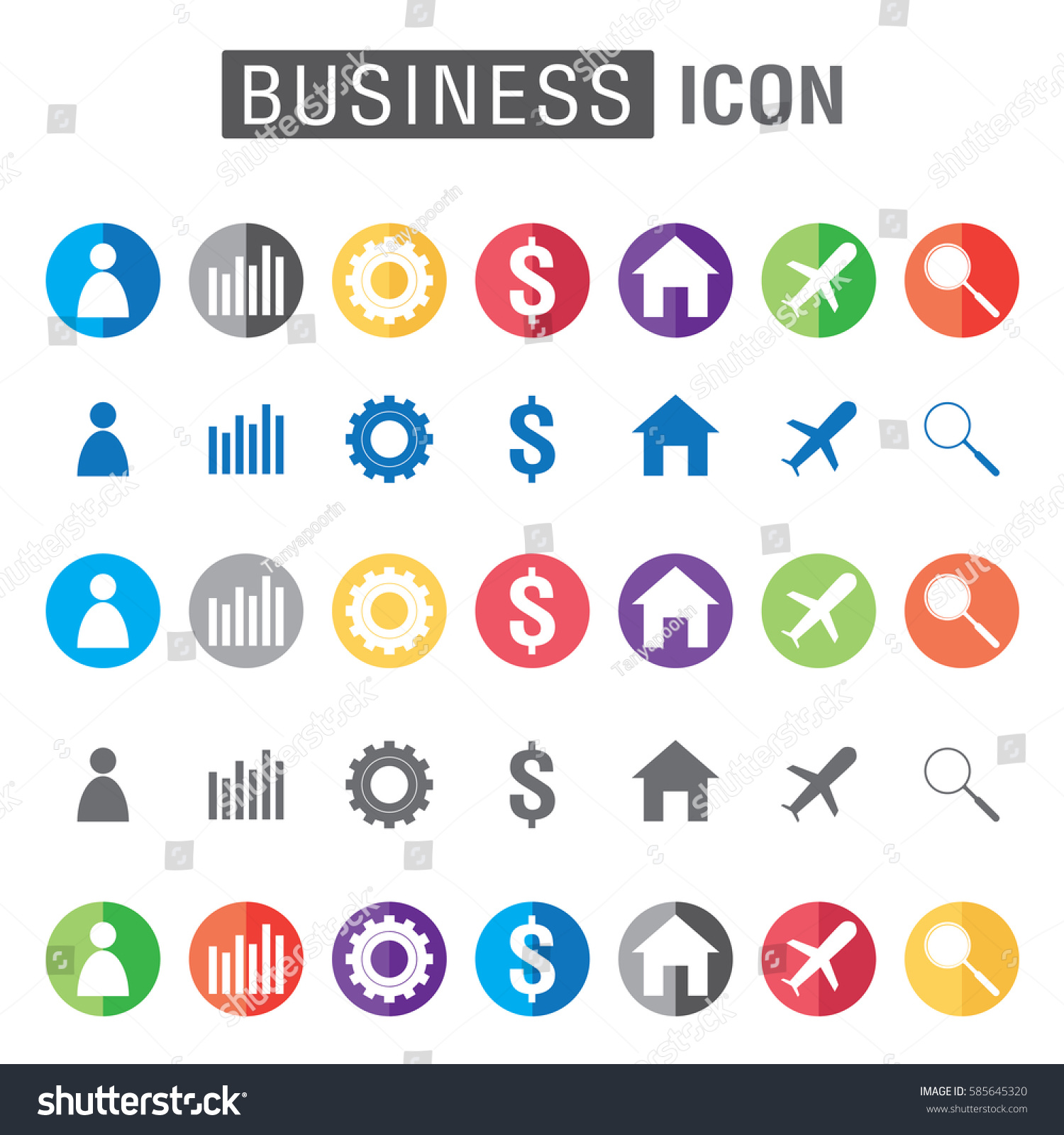 Business Icon Set Isolated On White Stock Vector Royalty Free Electrical Symbol A Background