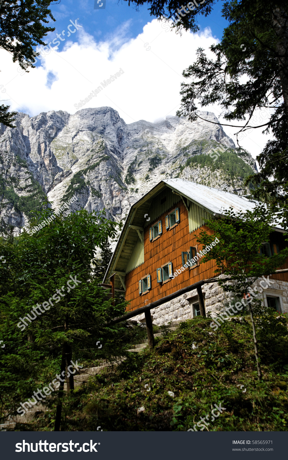Cottage high in mountains stock photo 58565971 shutterstock for Cottage in the mountains