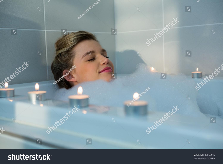 Woman Taking Bath Bathtub Bathroom Stock Photo & Image (Royalty-Free ...