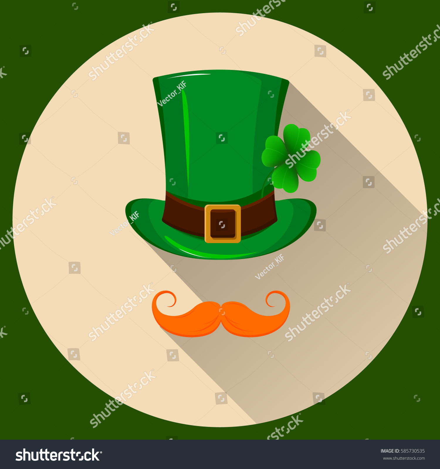 patrick hat green hat four leaf stock vector 585730535 shutterstock