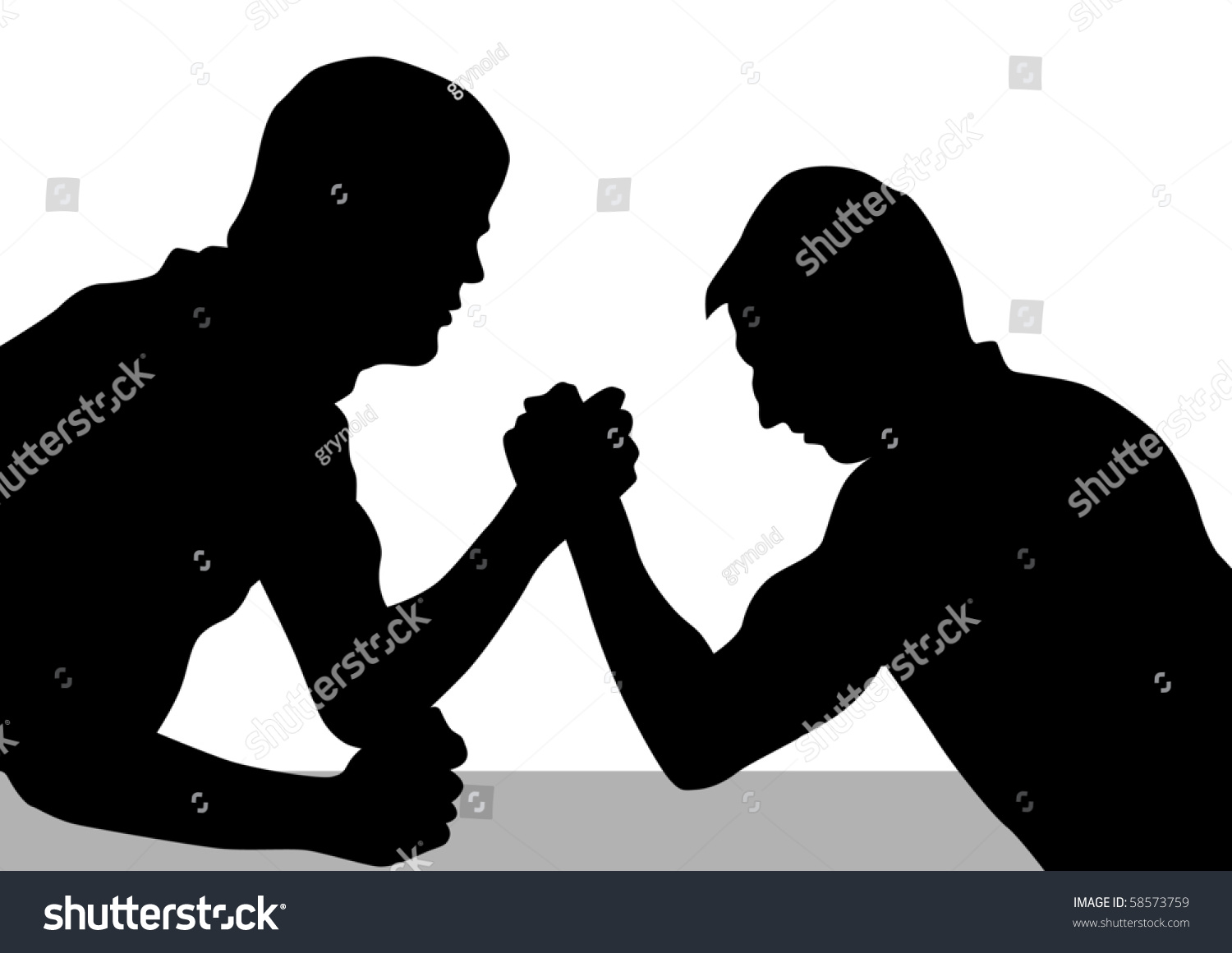 drawing competitions armwrestling silhouettes of two men