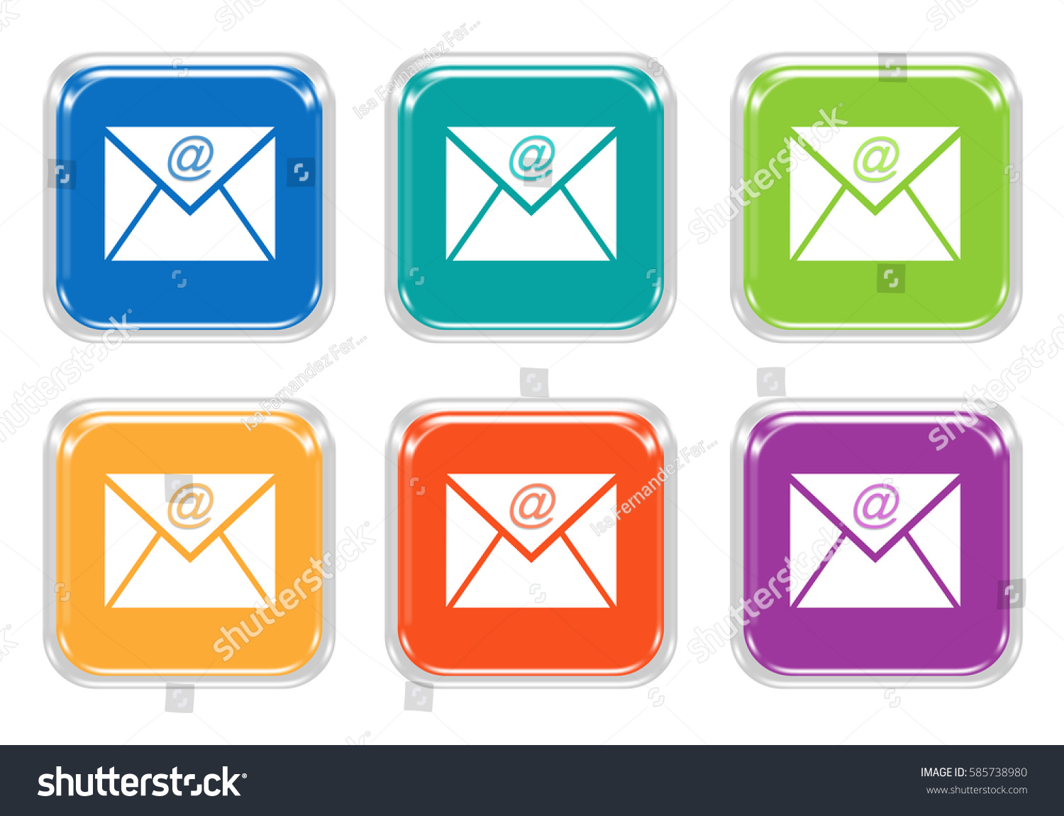 Set Squared Colorful Buttons Email Symbol Stock Illustration