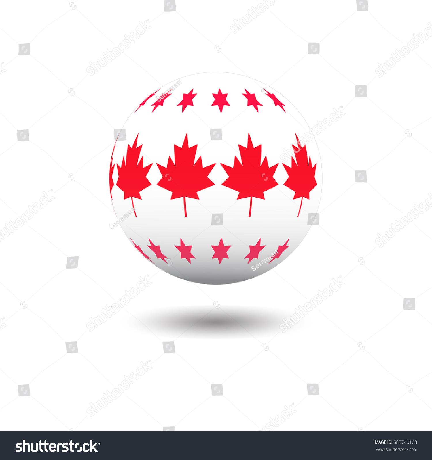 Abstract Soccer Ball Star Maple Leaf Stock Vector (Royalty Free ...