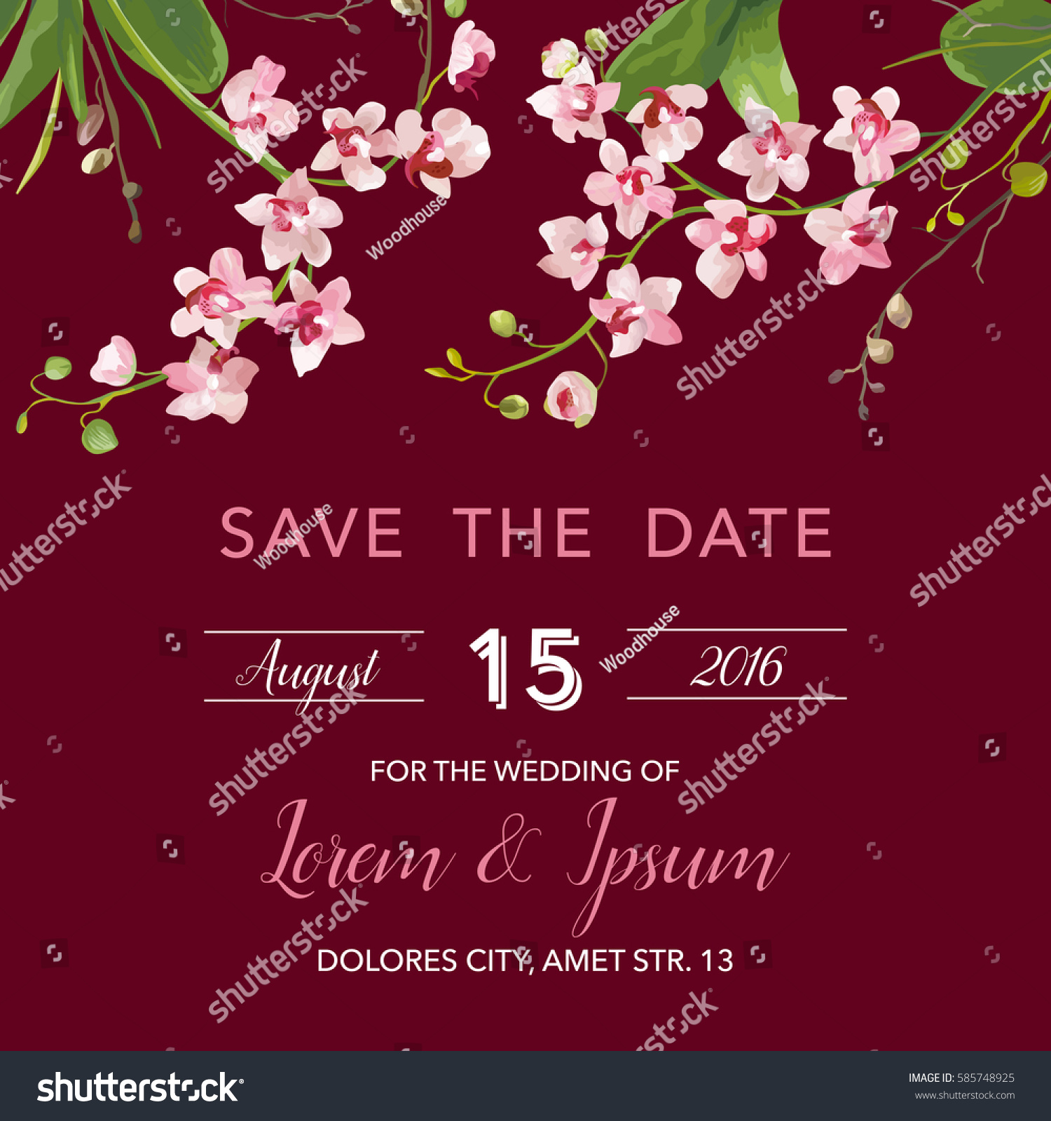 Save Date Card Tropical Orchid Flowers Stock Vector 585748925 ...