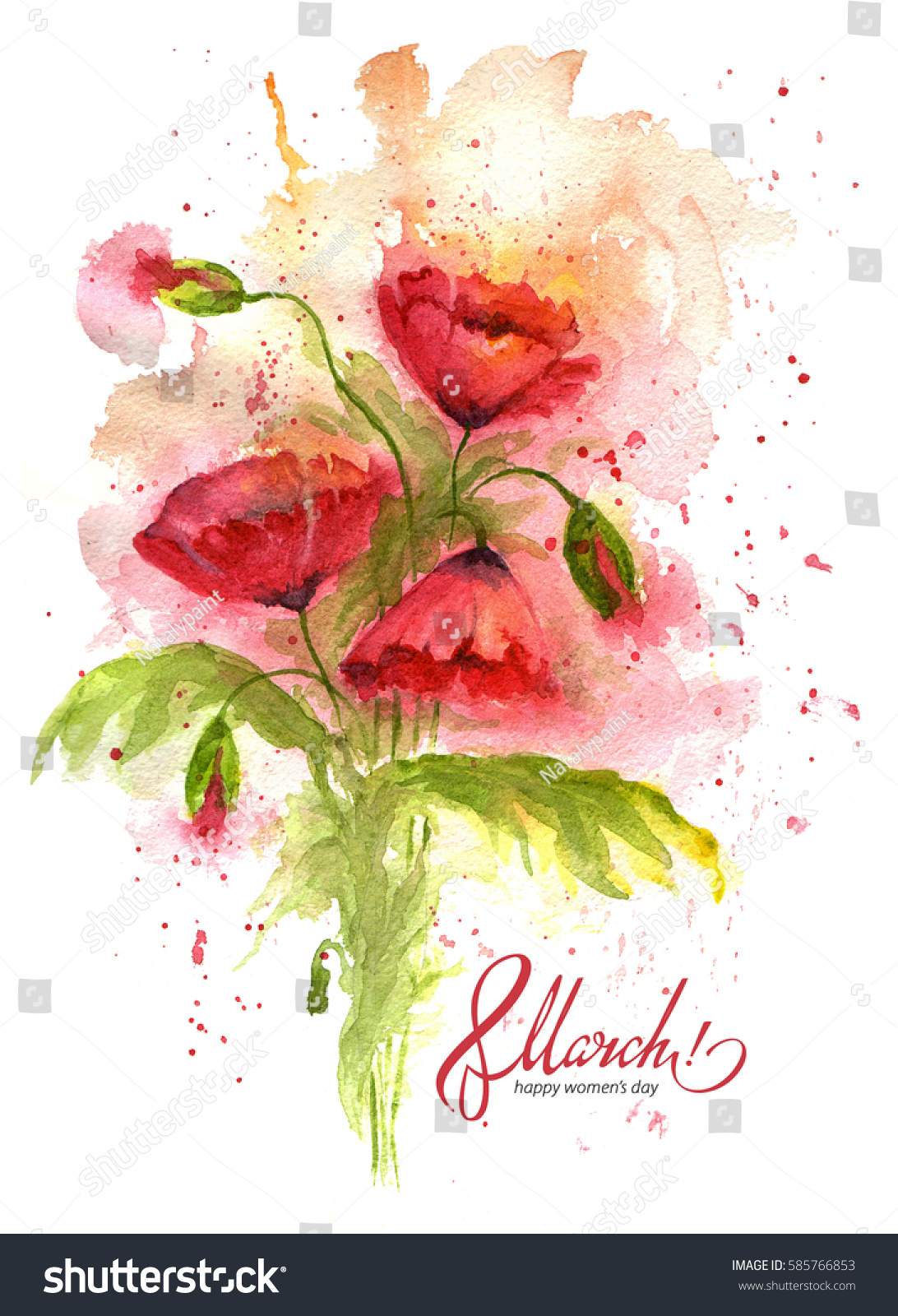 Greeting Card 8 March With Red Poppy Flowers International Womens