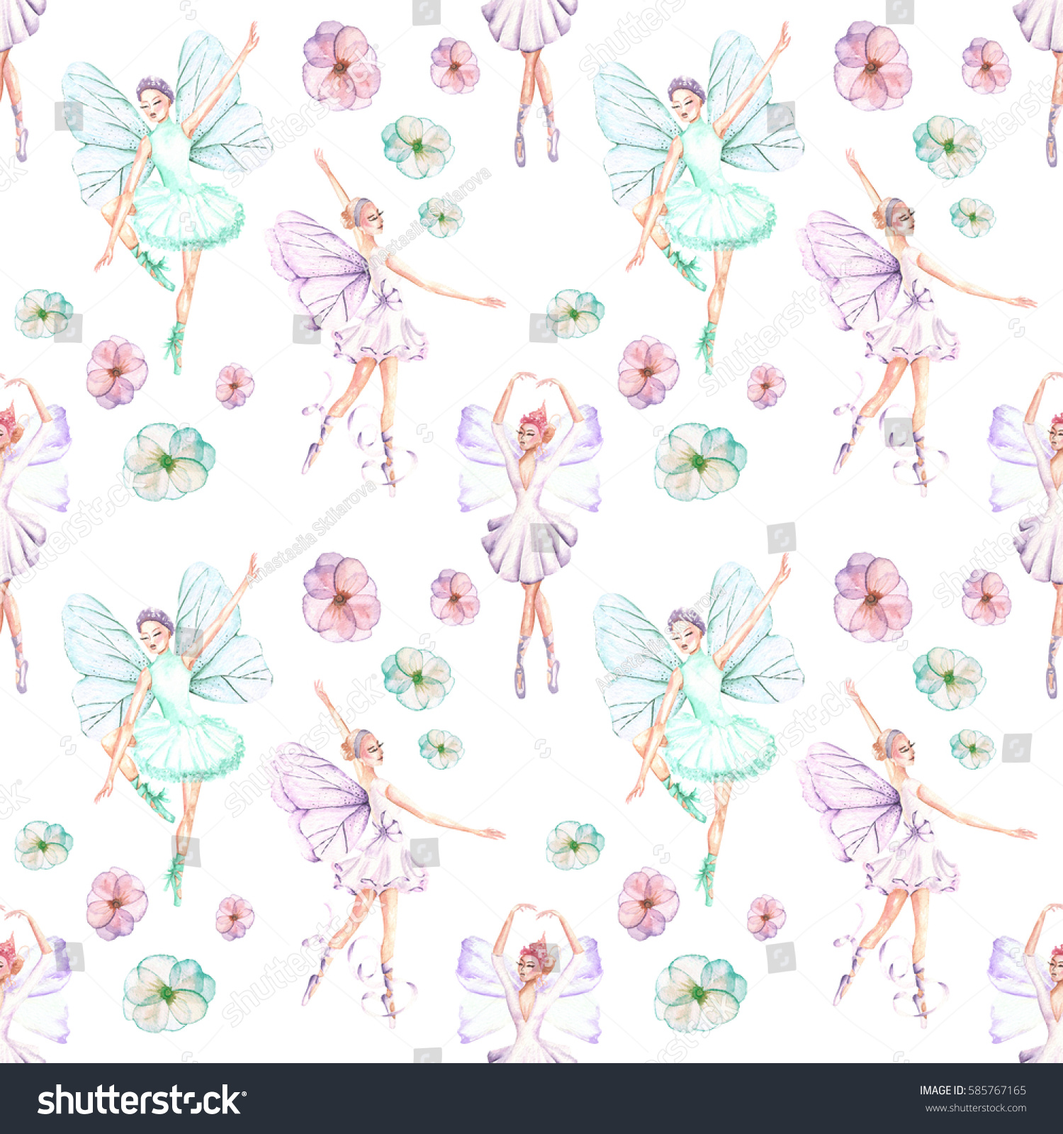 Seamless pattern of ballet dancers royalty free stock photography - Seamless Pattern With Watercolor Ballet Dancers With Butterfly Wings And Flowers Hand Drawn Isolated On