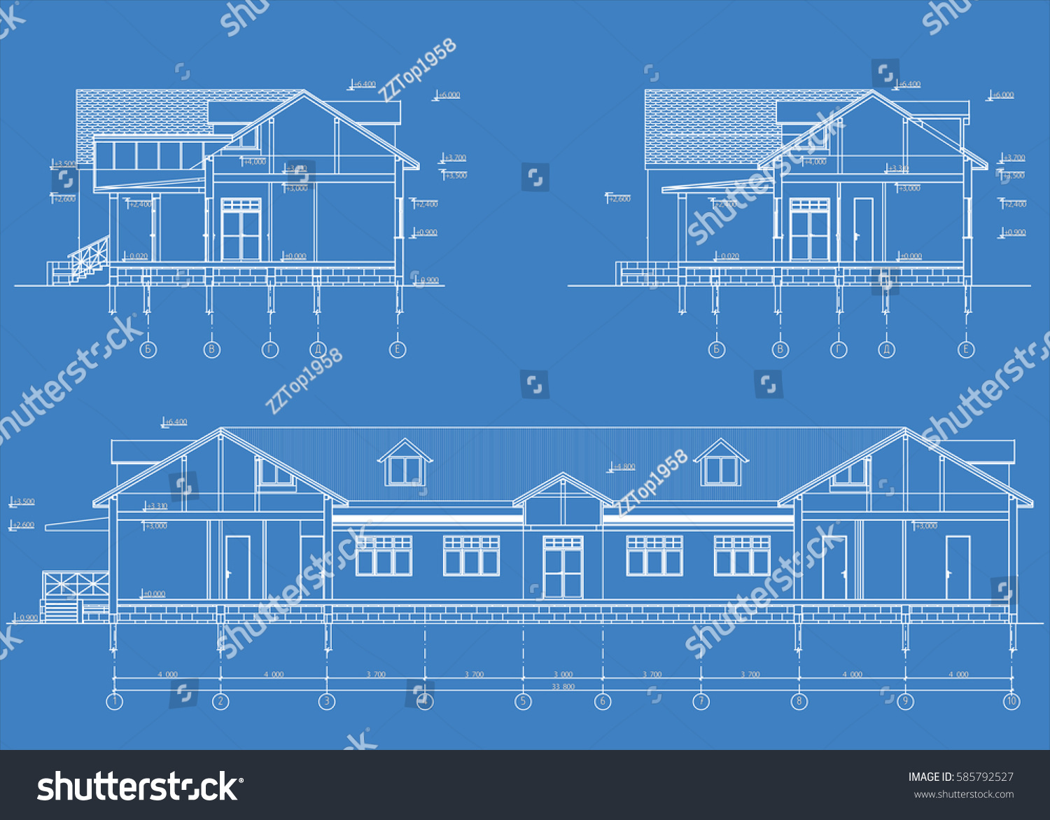 Authors architectural project country hotel blueprint stock vector the authors architectural project of the country hotel the blueprint of cross section malvernweather Images