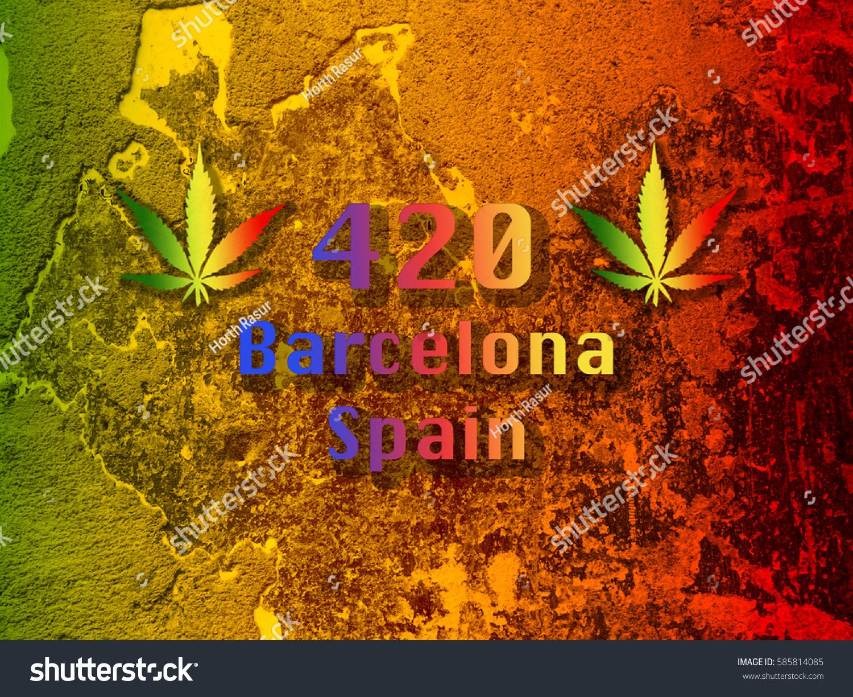 Marijuana leaf 420 symbol barcelona spain stock photo 585814085 marijuana leaf with 420 symbol and barcelona spain font on green yellow red background biocorpaavc Gallery
