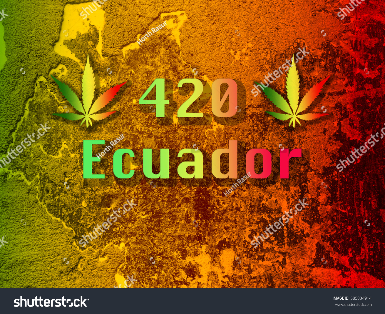 Marijuana leaf 420 symbol ecuador font stock photo 585834914 marijuana leaf with 420 symbol and ecuador font on green yellow red background biocorpaavc