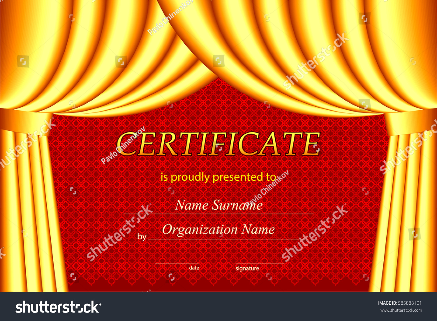 Vector certificate template curtains stock vector 585888101 vector certificate template with curtains yadclub