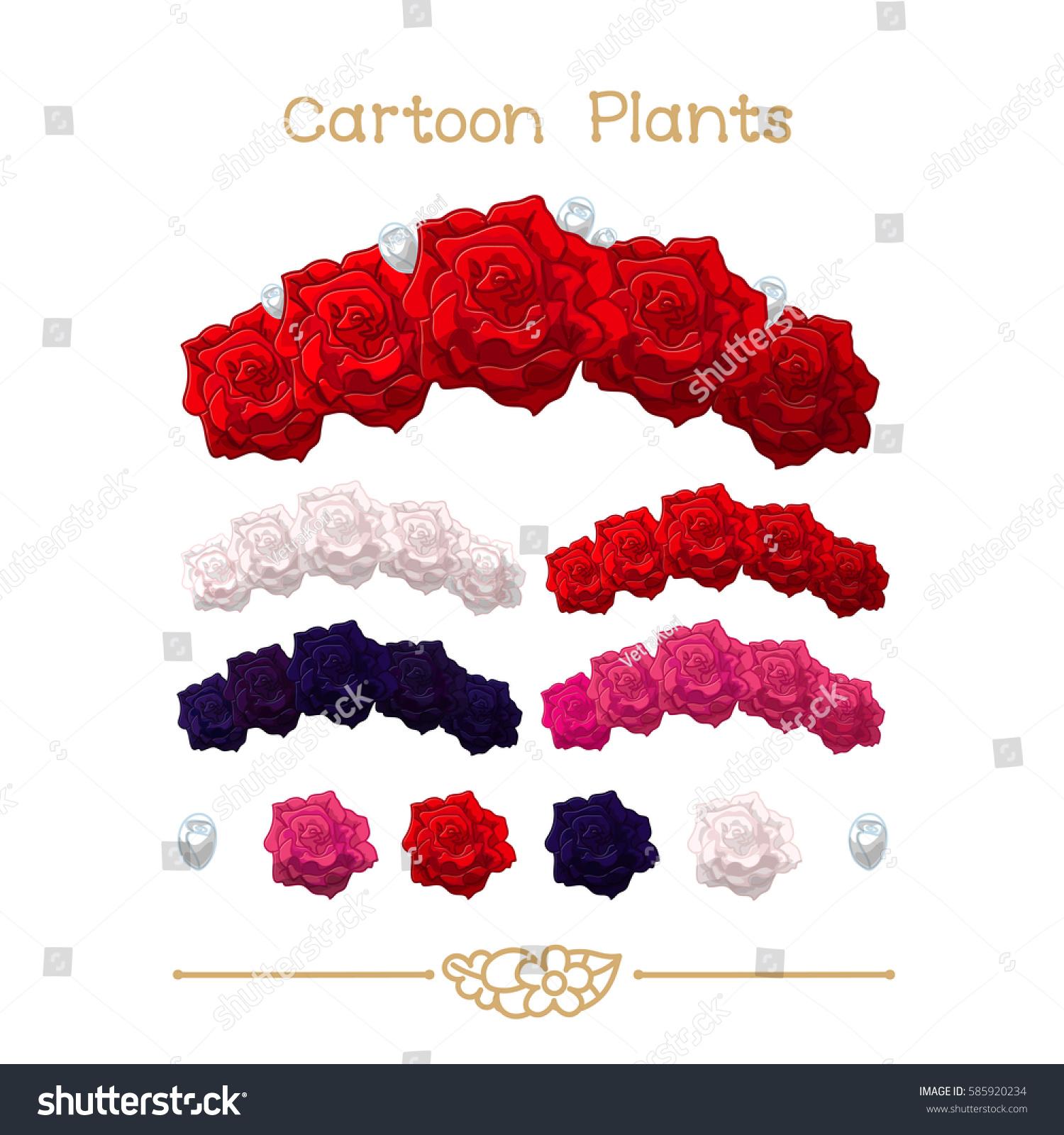 Vector pic series cartoon plants rose stock vector royalty free vector pic series cartoon plants rose flower crown set red pink white izmirmasajfo