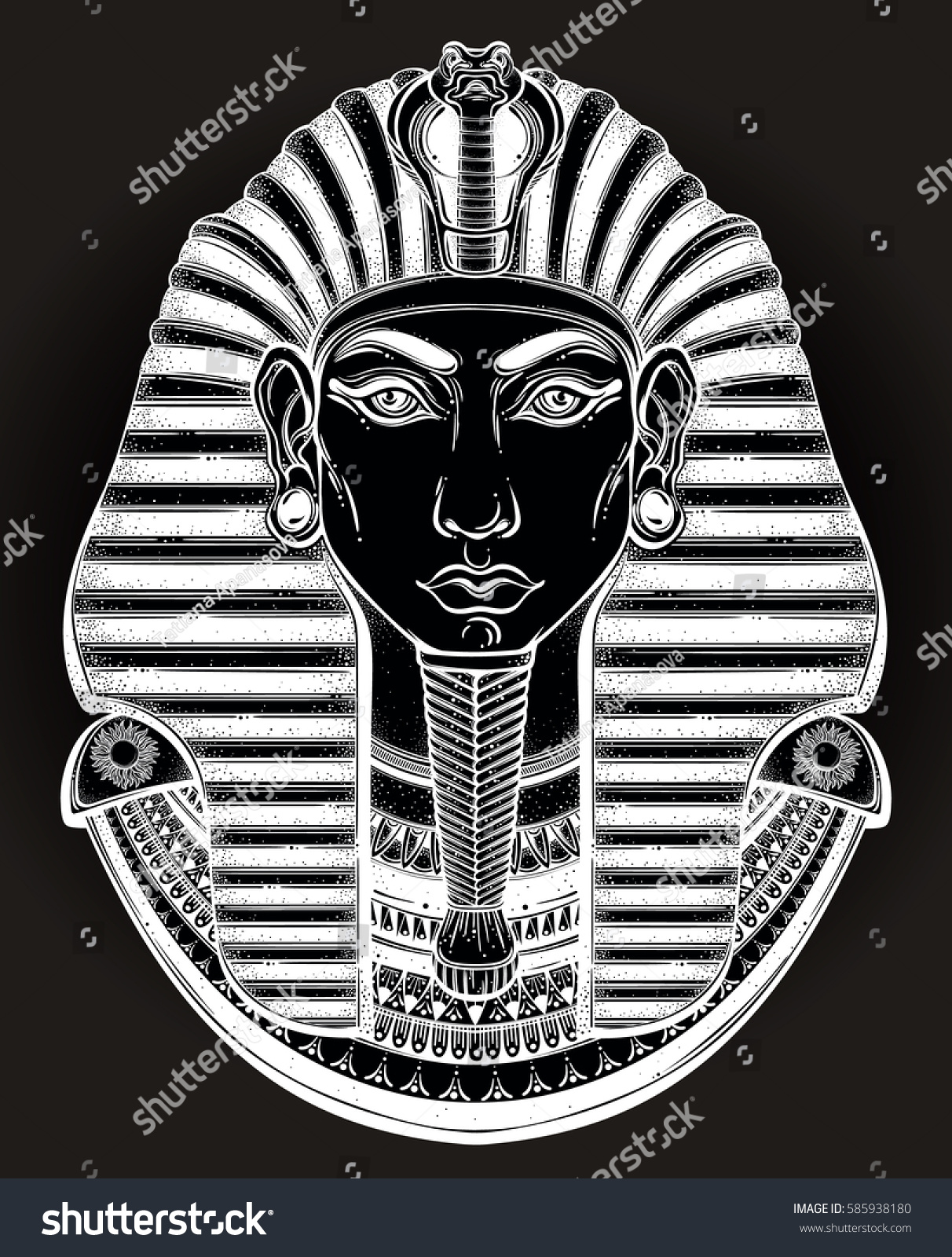 de8d04c4e Hand-drawn vintage illustration of the ancient Egyptian Pharaoh's head. Tattoo  art, graphic.