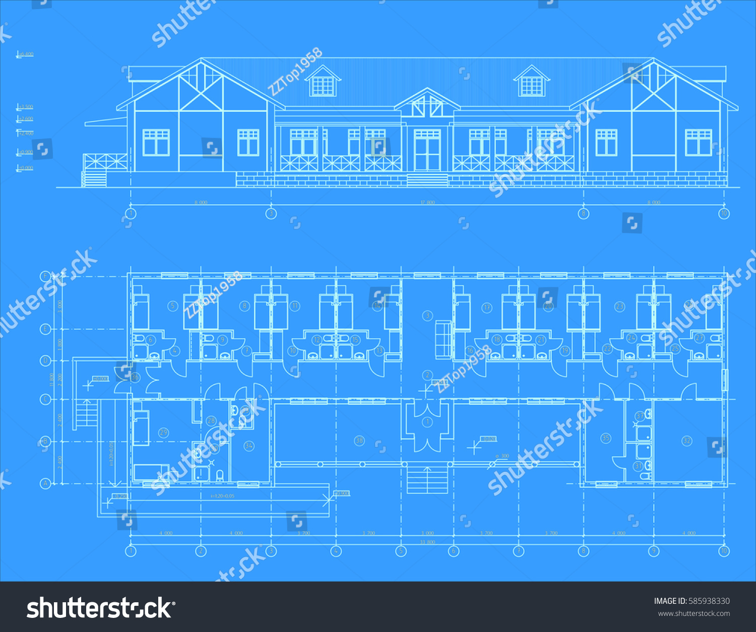 Authors architectural project country hotel blueprint stock vector the authors architectural project of the country hotel the blueprint vector malvernweather Image collections